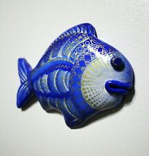 Decorative fish painted by hand, decor on the wall, hand painted fish blue