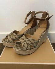 Women MK Michael Kors Eleanora Wedge Buckle Sandals Mini MK Logo Size 7.5