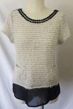 Princess Vera Wang Women's Cream & Black Shirt W/Pockets Size Medium