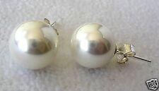 10mm White Shell Pearl Stud Earrings Sterling Silver .925 Butterfly Backings