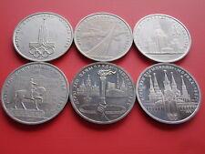 Russland 6 x 1 Rubel Set Sommerspiele Olympiade Moskau 1980 cu/ Nickel Satz