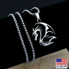 """Men Stainless Steel Vintage Spitfire Flying Dragon Pendant Necklace 24"""" Chain"""