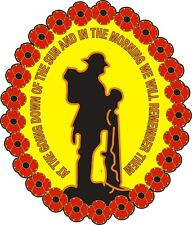 "POPPY CAR WINDOW STICKER WITH SOLDIER ""WE WILL REMEMBER THEM"" Remembrance Sunday"
