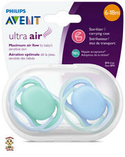 Avent Ultra Air Orthodontic Pacifier 6-18 months, 2 pack blue w/ sterilizer case