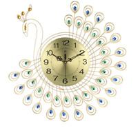 53x53cm  Gold Peacock Battery Wall Clock Large Jewel Gem Round Metal Rhinestone