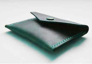 men women wallet purse cow Leather Card Cases ID Bifold Holder bag green S023