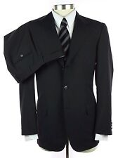 NWT $5495 BRIONI Nomentano Solid Black Extrafine Wool Flat Front Suit 50 40 40R