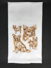 LONG HAIR CHIHUAHUA COLLAGE /LARGE DESIGN /EMBROIDERED ON WHITE KITCHEN TOWEL