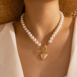 2021 Boho Pearl Heart Love Pendant Necklace Clavicle Chain Women Jewelry Gifts