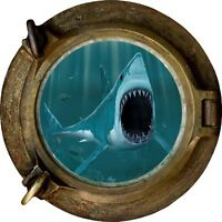 Huge 3D Porthole Fantasy Shark Under Sea View Wall Stickers Decal Mural 506