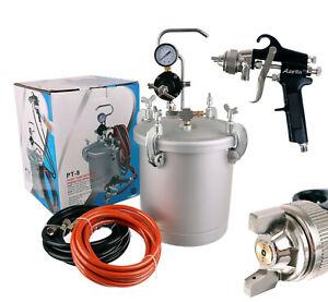 8ltr Pressure Tank with Air Regulator Paint Pot Spray Gun 1,8mm 2x Hoses