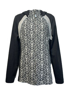 ANTHROPOLOGIE Pure + Good Women's Size L Gray Jacquard Damask Hooded Jacket
