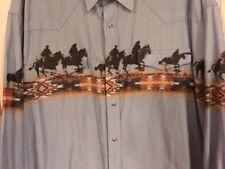 LOOO DEE Western Men Blue Sz 2XL Horse Pearl Snap Cowboy Rodeo Shirt