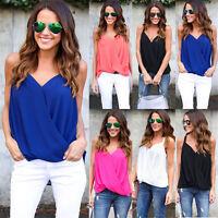 Women V Neck Chiffon Sleeveless Vest Blouse Tank Summer Casual Loose Top Shirts