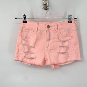 American Eagle Women 4 Shorts Super Stretch X Hi Rise Shortie Bright Pink Denim