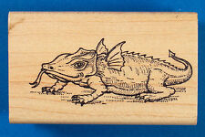 Winged Lizard Rubber Stamp by Uptown - Fantasy Dinosaur Reptile Dragon