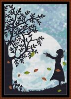 AUTUMN MOON cross stitch pattern PDF (point de croix)