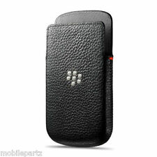 Genuine Official BlackBerry Q5 Black Leather Slide In Pocket Pouch / Case