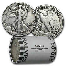 90% Silver Walking Liberty Halves $10 20-Coin Roll Avg Circ - SKU #5293