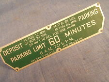 Michaels Art Bronze MiCo Parking Meter Time Limit Plate 60 Minutes Green