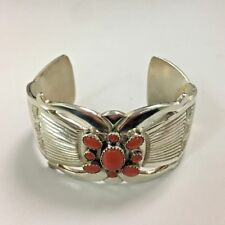 Sterling Silver Bracelet Cuff with Coral Stones