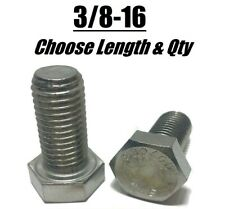 3/8-16 Stainless Steel Hex Cap Screw Bolt (All Sizes & Qty's) 18-8 / 304 Grade