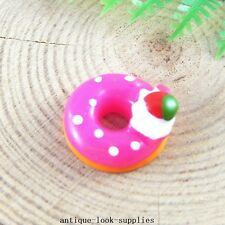 20pcs Rose Red Resin Donuts Flatbacks Cabochons Crafts Jewellery Findings 51353