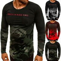 New Mens Slim Fitted Long Sleeve Shirt T-shirt Camo Tee Shirt Casual Top Blouse