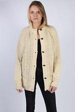 Vintage Quill's Woolen Market Knited Cardigan Wool Jumper Bust:50 Cream IL1077
