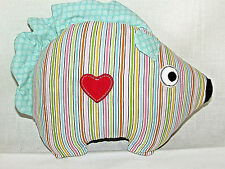 Childrens Small Porcupine Hedgehog Shaped Striped Pillow Embroidered Heart & Eye