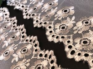 "laverslace Silver Grey Floral Eyelet Embroidered Tulle Lace Trim 2.5""/6.5cm"