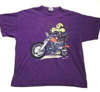 Mens Vintage 90s SSI Wile E Coyote Graphic T Shirt Purple Size XL