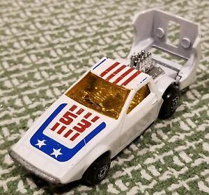 Vintage (1970s) Matchbox die-cast car, No. 53 Tanzara, White w/ Red / Blue tampo