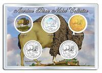 2005 AMERICAN BISON NICKEL Westward Journey 5-Coin US Set P&D Holo Colorized 24K