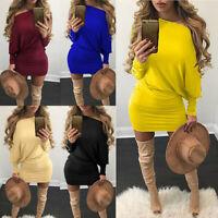 UK Women Baggy Knitted Long Sweater Mini Dress Jumper Winter Loose Pullover Tops
