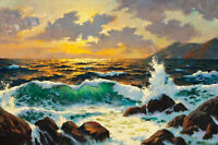 ZOPT589 100% hand painted landscape seascape wave oil painting home art canvas