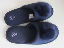Victoria's Secret Women's Slippers Size M 7-8 Navy Blue Faux Fur Pom-Pom NWOT