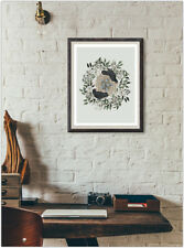Floral Bird Nest Print Fashion Poster Home Interior Wall Picture Decoration A4