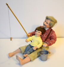 Danbury Mint The Fishing Lesson Judy Belle vintage 1992 porcelain Grandpa & Gson