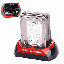 """All In One 2.5"""" 3.5"""" Dual SATA IDE Hard Disk Drive HDD Docking Station Dock Hub"""