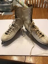 Vintage Ice Skates White Leather Hyde don't Know The Size See The Pic Ships N 24