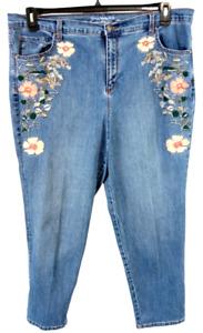 Gloria vanderbilt blue denim embroidered spandex stretch tapered leg jeans 18W