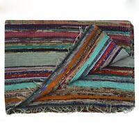 Indian chindi vintage hand loomed runner yoga carpet striped hand woven rag rug