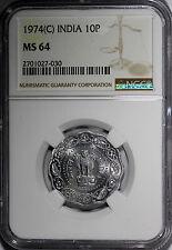 India-Republic Aluminum Magnesium 1974 9 (C) 10 Paise NGC MS64!