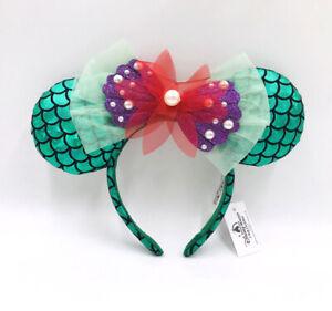 Disney Park Ariel Minnie Mouse Ears Mickey Green The Little Mermaid Bow Headband