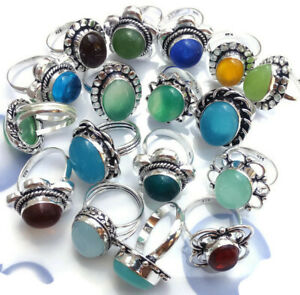 10 Pcs Lot Goldstone Chalcedony Onyx Mix 925 Sterling Solid Silver Rings RB-36