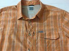 Columbia Orange Check Shirt Short Sleeve Size XXL - 2XL