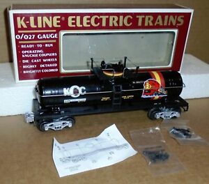 "* K-Line O-27 Trains  ""K-Line Collectors Club Tank Car #90003"" w/ Box #K90003"
