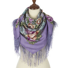 Russian Pavlovo Posad Shawl 100% wool with silk fringe 89x89cm (35x35in) 1661-15