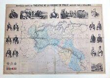 CARTE DU THEATRE DE LA GUERRE EN ITALIE A.VUILLEMIN RISORGIMENTO 1859/62